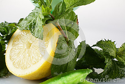 Fresh lemon with mint