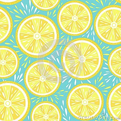Free Fresh Lemon Seamless Pattern. Vector Illustration Stock Images - 120065284