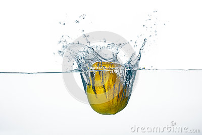 Fresh Lemon Splash in Water Isolated on White Background