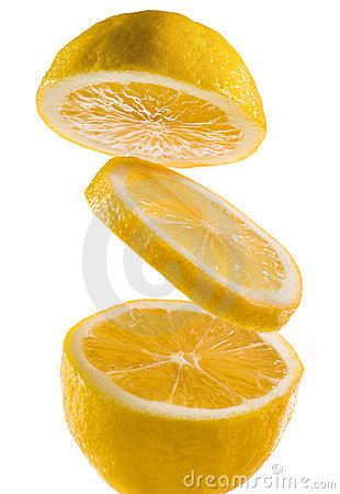 Fresh lemon on a white background