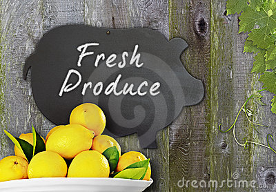 Fresh Lemons & Black Chalkboard Pig Menu Fresh Fru