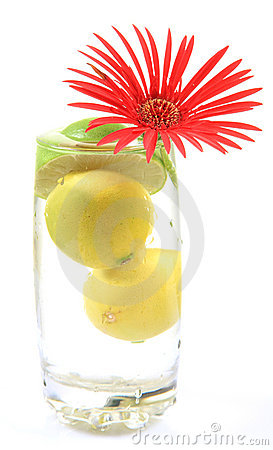 Fresh lemons and flower