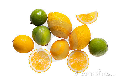Fresh lemons and limes on a white background