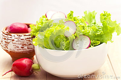 fresh lettuce and radishes