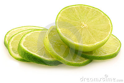 Fresh lime fruit and some thin slices