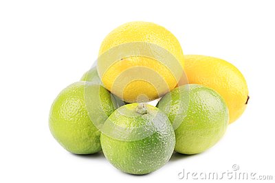 Fresh lime and lemon isolated on white.