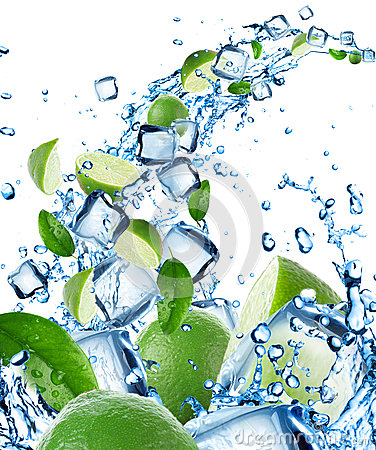 Fresh limes in water splash with ice cubes