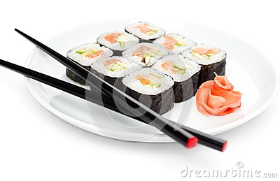 Fresh maki rolls on the plate