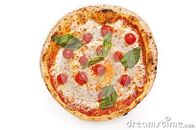 Fresh margarita pizza isolated on white