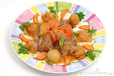 Fresh meat cooked with onions