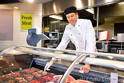 Fresh Meat Counter with Butcher