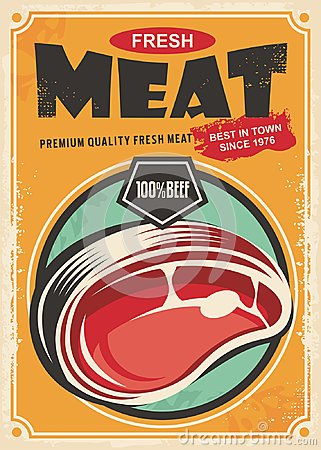 Free Fresh Meat Promotional Retro Poster Design Royalty Free Stock Photography - 102819627