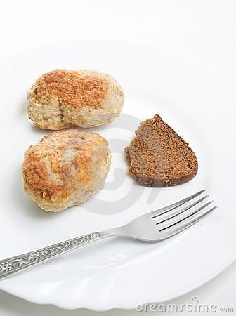 Fresh meatloaf  with fork on plate