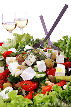Free Fresh Mediteranian Salad With Two Glasses Of Wine Stock Image - 22216601