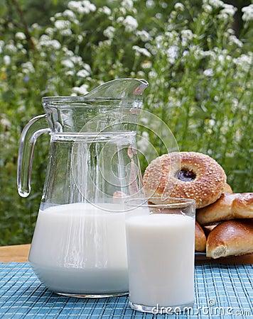 Fresh milk and ruddy pies