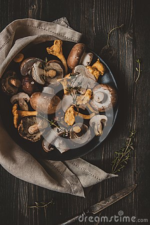 Free Fresh Mixed Forest Mushrooms On The Wooden Black Table Royalty Free Stock Images - 100532749