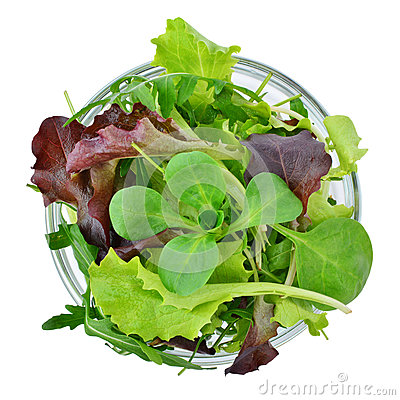 Free Fresh Mixed Greens Leaf Vegetables In Bowl Isolated, Top View Stock Photography - 84806032