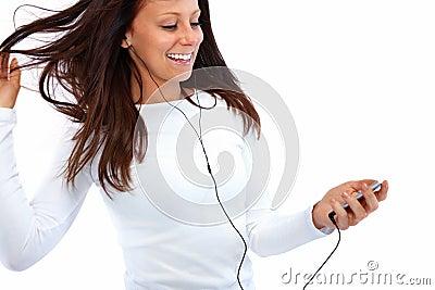 Fresh modern woman listening to music
