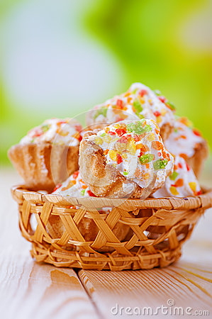 Fresh muffins in wicker basket