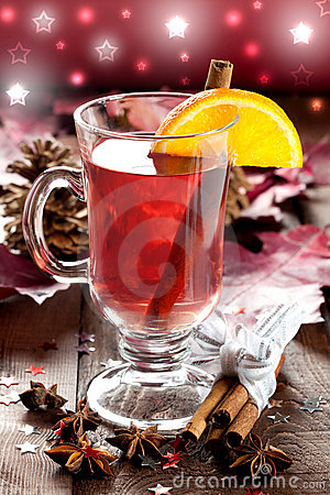 Fresh mulled wine with orange