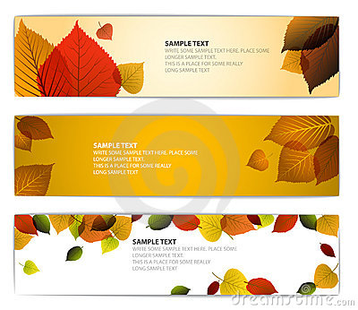 Fresh natural fall  horizontal banners with leafs