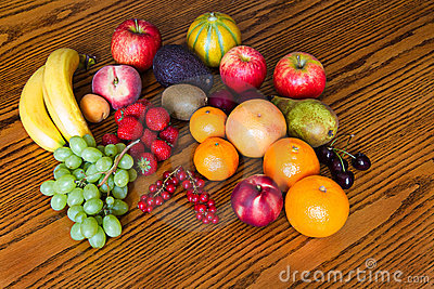 Fresh, natural looking fruit with wood background
