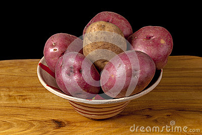 Fresh natural potatoes in a bowl