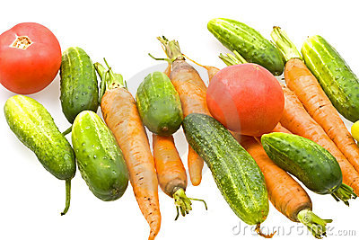 Fresh natural vegetables on white