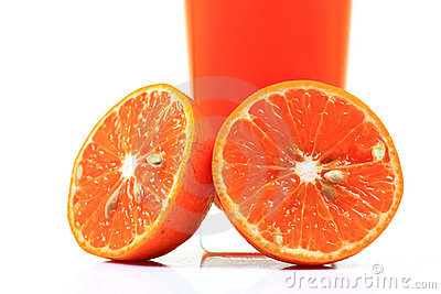 Fresh orange halves