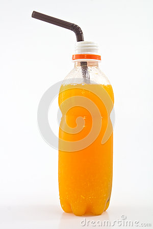 Fresh orange juice bottle