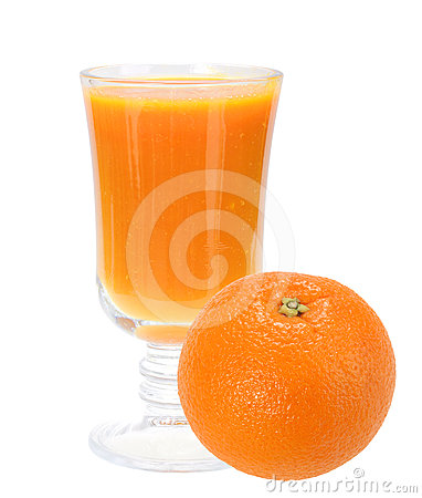 Fresh orange juice and full orange-fruit