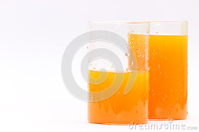 Fresh orange juice glasses