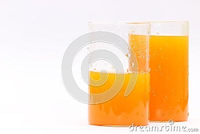 Fresh orange juice glasses
