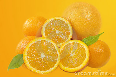 Fresh oranges fruits composition