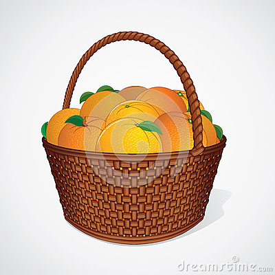 Free Fresh Oranges With Leaves In Wicker Basket Stock Photo - 70828650