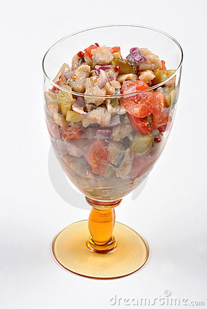 fresh organic herring salad  in a bowl