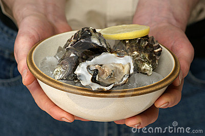 Fresh and organic oyster in a bowl