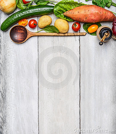 Free Fresh Organic Vegetables Ingredients And Wooden Spoon On Rustic Wooden Background, Top View. Royalty Free Stock Images - 60008459