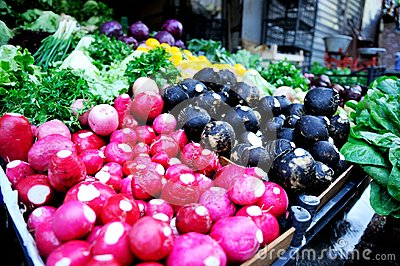 Fresh organic vegetables on market