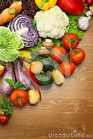 Fresh Organic Vegetables /  on Wooden Desk