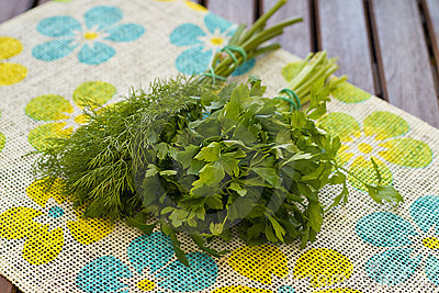 Fresh parcely and dill