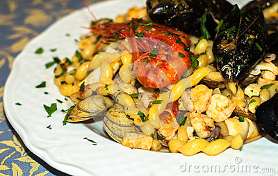Fresh pasta with seafood.mediterranean cuisine