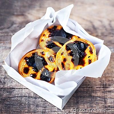 Free Fresh Pasteis De Nata - Creamy Egg Tart With  Sweet Curstard, Bl Stock Photo - 98003370