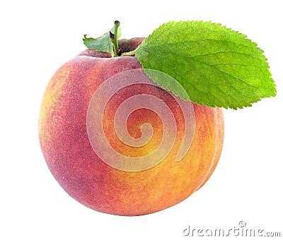 Fresh peach with green leaf