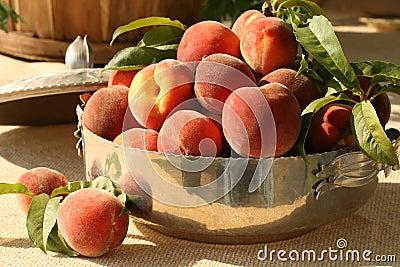 Fresh peaches in silver bowl
