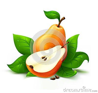 Fresh pear with cut