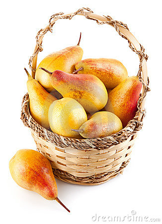 Fresh pear fruits in the basket