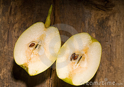 Fresh pears  cutted  in half