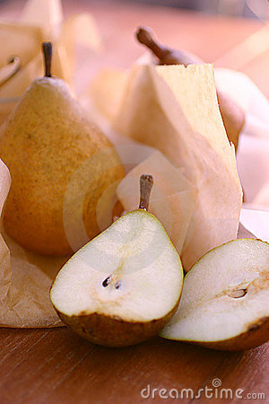 Fresh pears on paper