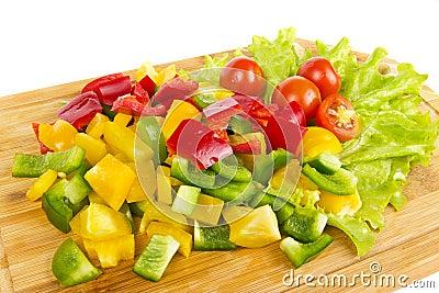 Fresh pepper cubic cuts with cherrн tomatoes